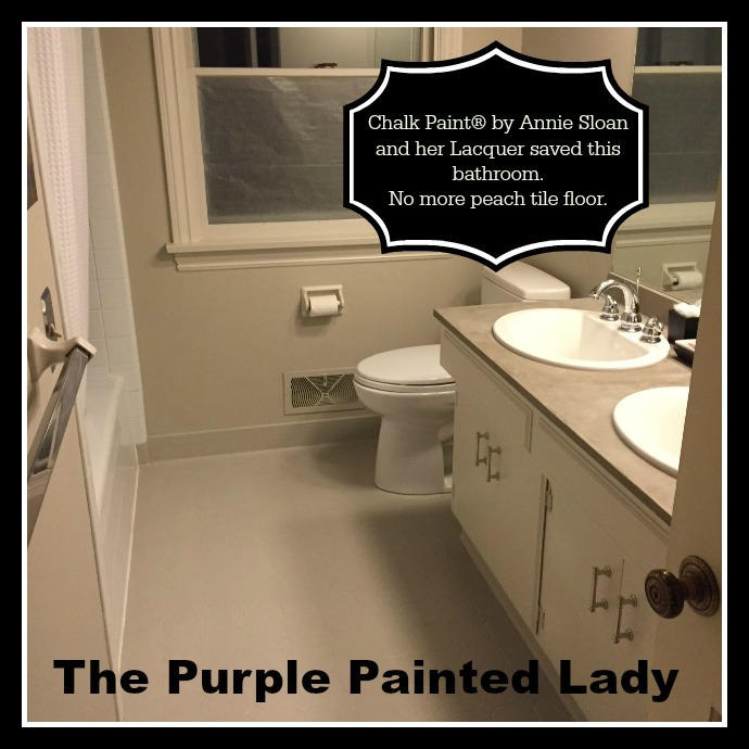 The Purple Painted Lady Kim Gray Tile Floor Chalk Paint AFTER with double vanity