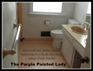 The Purple Painted Lady Kim Gray Tile Floor Chalk Paint Before 1