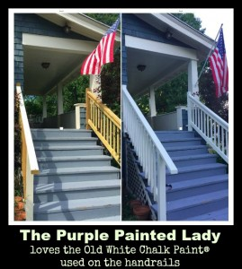 The Purple Painted Lady Old White Chalk Paint Exterioir use outside handrails Carrie