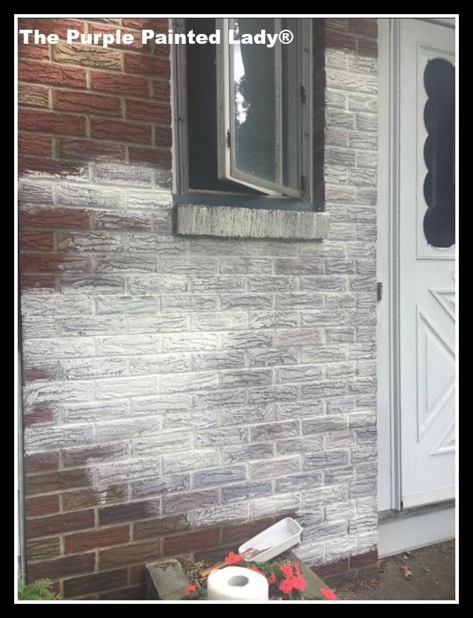 Old White Chalk Paint® Wash Over Exterior Brick | The Purple Painted ...