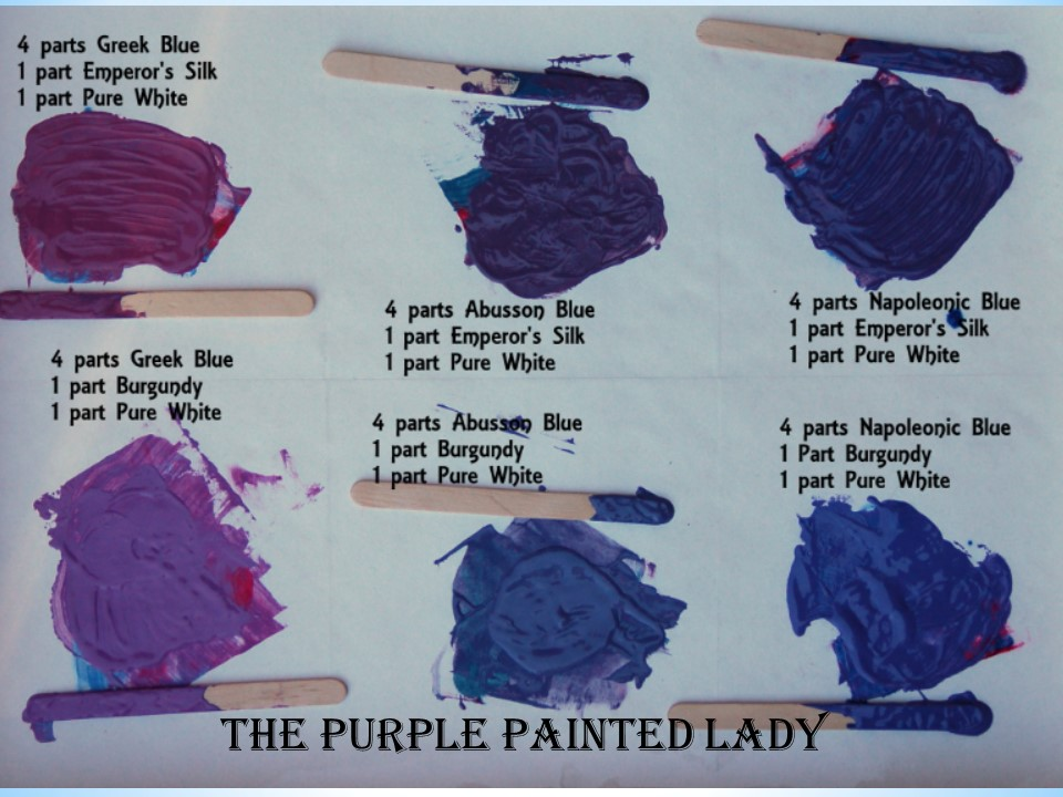 mixing chalk paint colors to make purples the purple painted lady. Black Bedroom Furniture Sets. Home Design Ideas